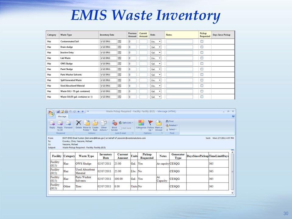 EMIS Waste Inventory 30