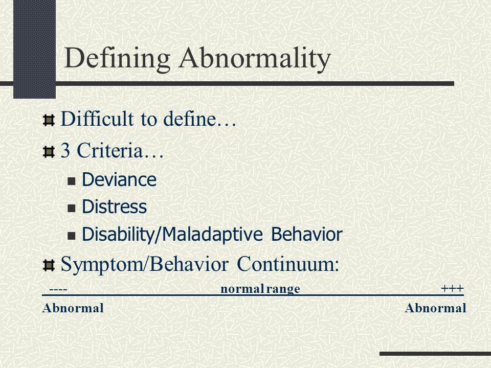 Defining Abnormality Difficult to define… 3 Criteria… Deviance Distress Disability/Maladaptive Behavior Symptom/Behavior Continuum: _----_____________
