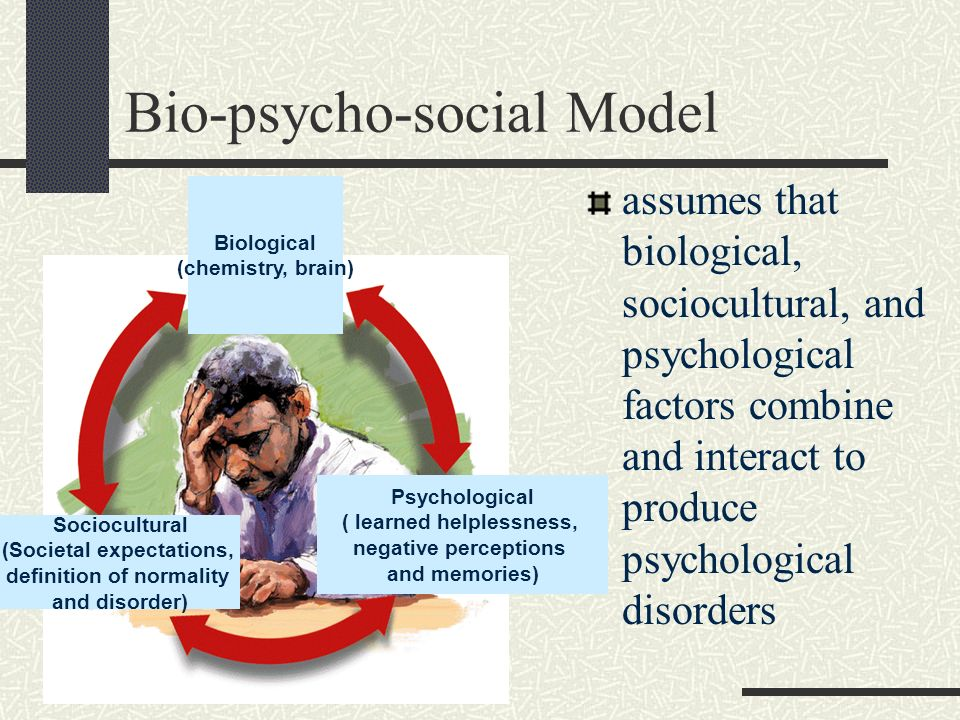 Bio-psycho-social Model assumes that biological, sociocultural, and psychological factors combine and interact to produce psychological disorders Biol