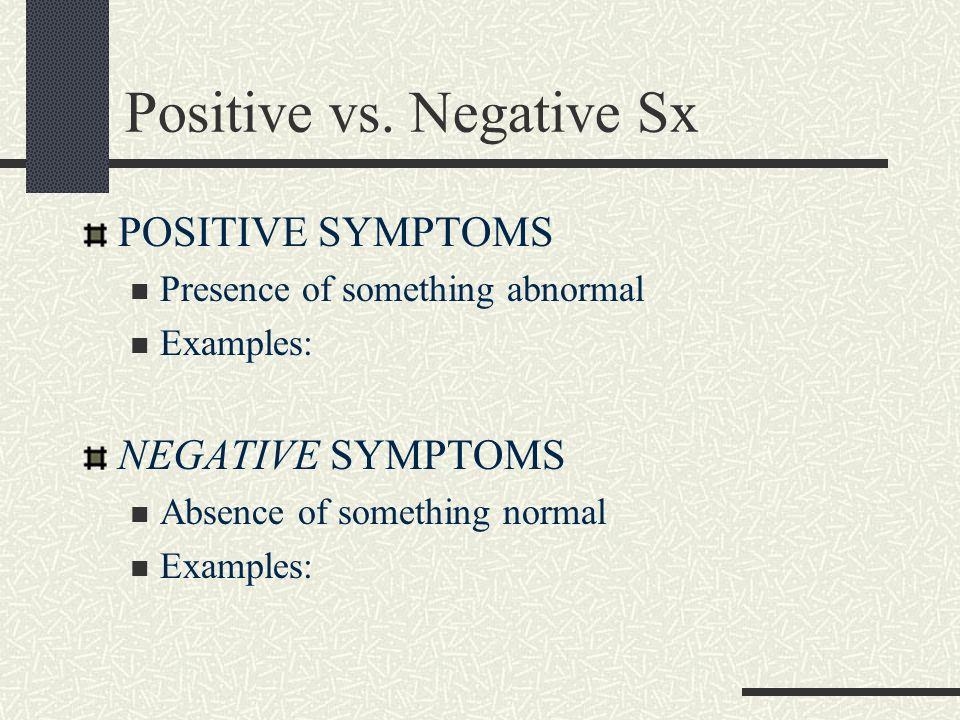 Positive vs. Negative Sx POSITIVE SYMPTOMS Presence of something abnormal Examples: NEGATIVE SYMPTOMS Absence of something normal Examples: