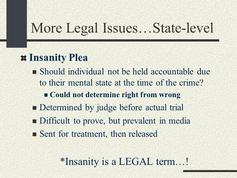 More Legal Issues…State-level Insanity Plea Should individual not be held accountable due to their mental state at the time of the crime? Could not de