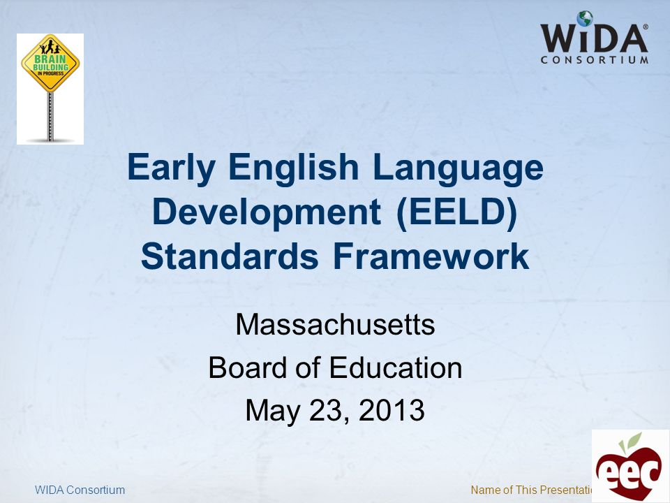 Name of This Presentation 22 WIDA Consortium EELD Standards Framework ComponentDescription Six language standardsSocial-Emotional Development, Early Language & Literacy, Mathematics, Science, Social Studies, Physical Development Two language domainsReceptive and Expressive Three age clusters-2.5-3.5 years, 3.5-4.5 years, 4.5-5.5 years Three language levels (for English language development) Entering, Developing, Bridging General descriptions of receptive and expressive language at the three levels of English language development for three age clusters Performance DefinitionsGeneral descriptions of receptive and expressive language at the three levels of English language development for three age clusters Model Performance Indicators (MPIs)Specific examples of the language dual language learners are able to process and produce within each age cluster at each level of English development within topic areas across all six standards