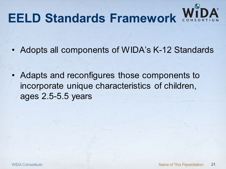 Name of This Presentation 21 EELD Standards Framework Adopts all components of WIDAs K-12 Standards Adapts and reconfigures those components to incorp