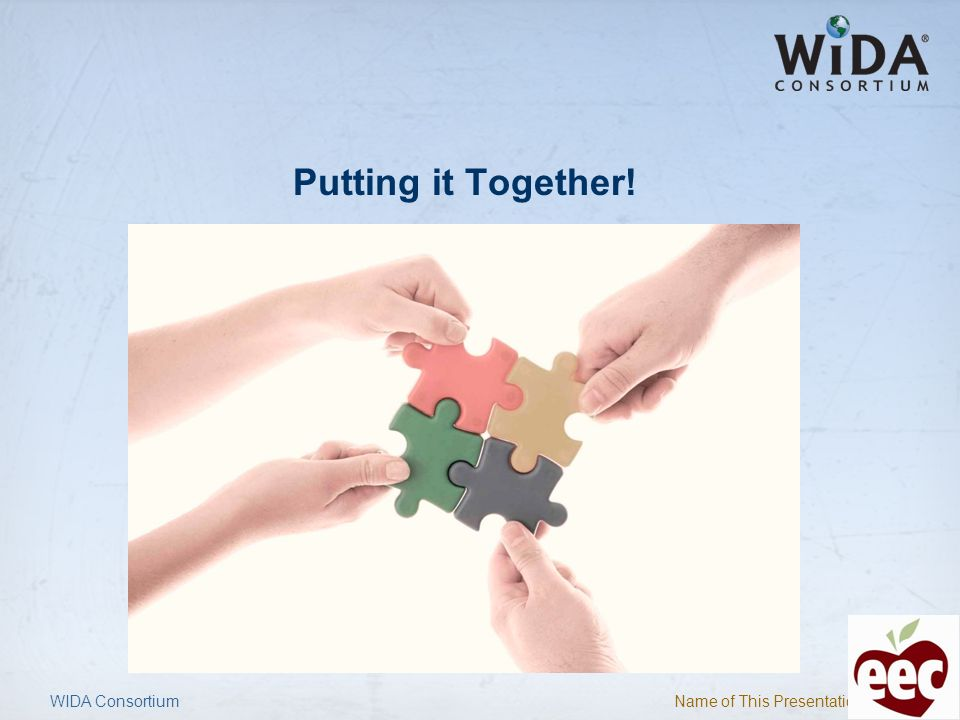Name of This Presentation 25 Putting it Together! WIDA Consortium