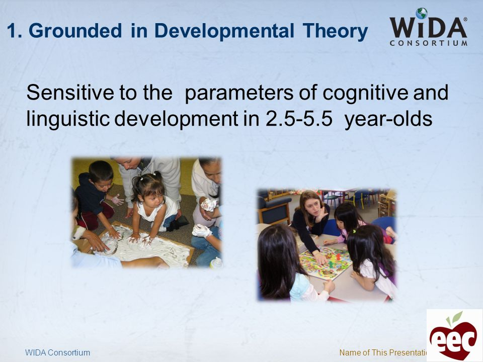 Name of This Presentation 6 1. Grounded in Developmental Theory Sensitive to the parameters of cognitive and linguistic development in 2.5-5.5 year-ol