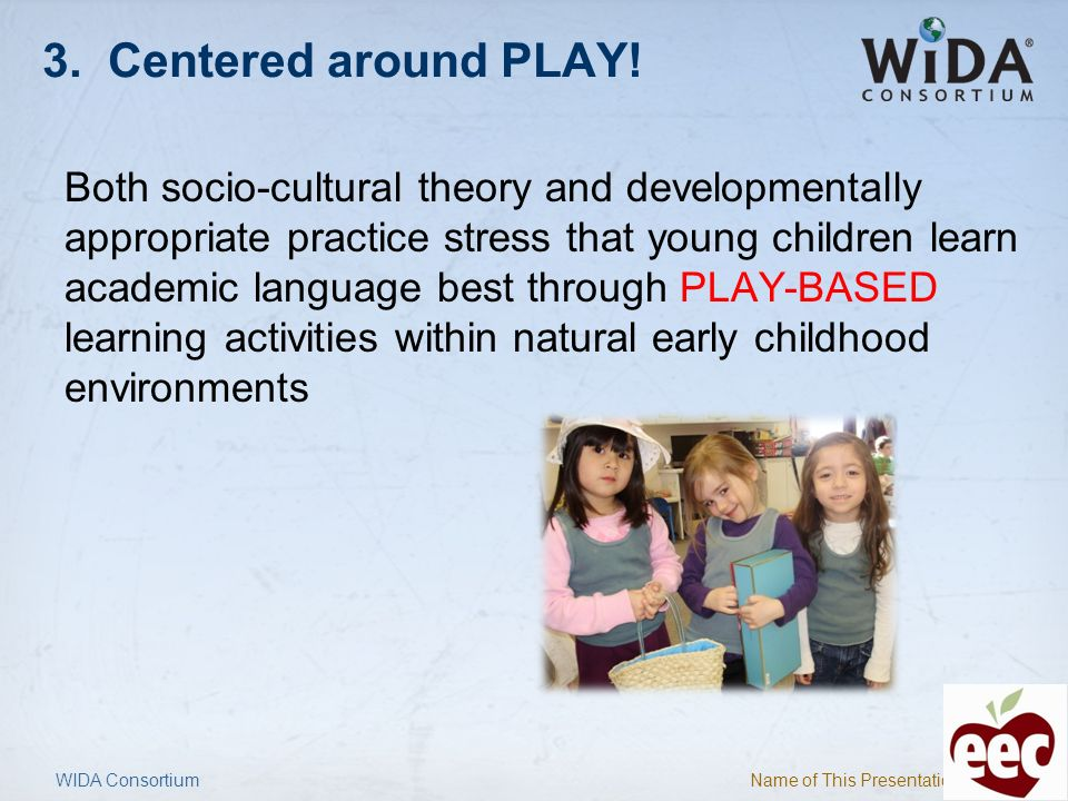 Name of This Presentation 19 EELD Standards Correspond with National Education Goals Panel list (BUILD, 2012) Correspond with states Early Learning Standards and Head Start Early Learning and Child Outcomes Are used in conjunction with state Early Learning Standards and/or Head Start Early Learning and Child Outcomes for instruction and assessment of dual language learners Provide the language of… WIDA Consortium