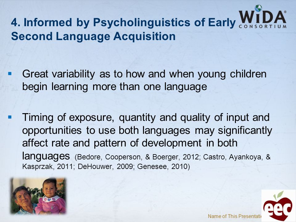 Name of This Presentation 9 4. Informed by Psycholinguistics of Early Second Language Acquisition Great variability as to how and when young children