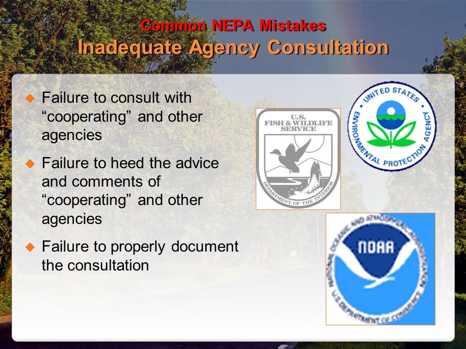 Common NEPA Mistakes Inadequate Agency Consultation Failure to consult with cooperating and other agencies Failure to heed the advice and comments of