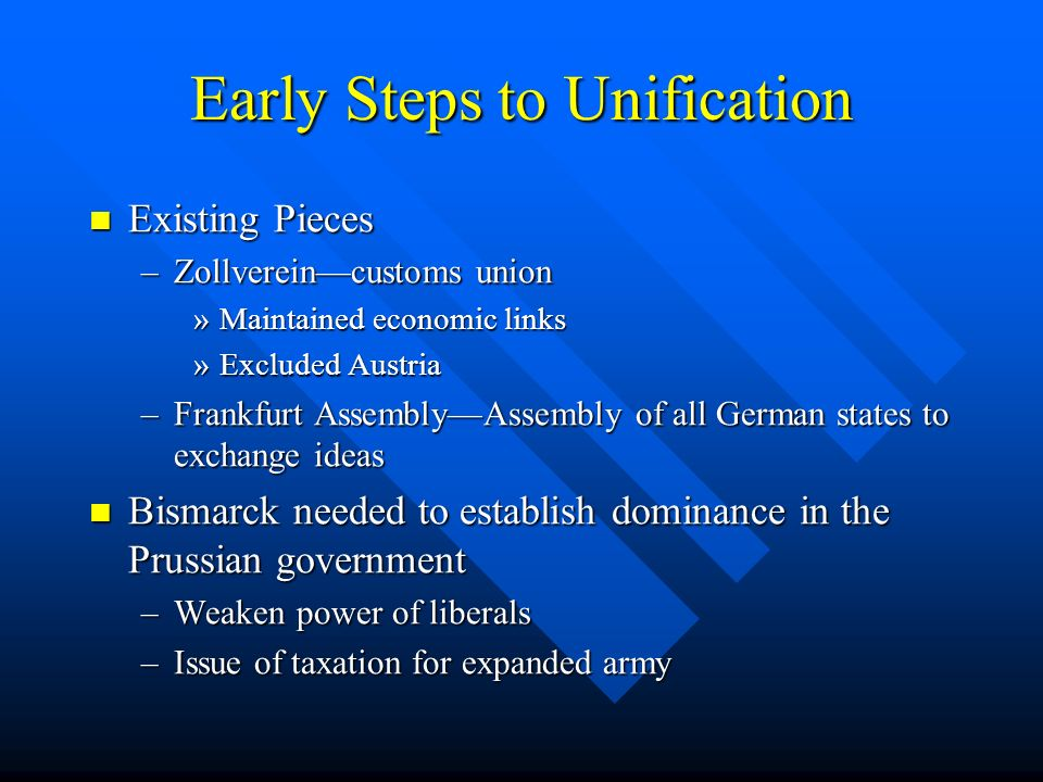 Early Steps to Unification Existing Pieces Existing Pieces –Zollvereincustoms union »Maintained economic links »Excluded Austria –Frankfurt AssemblyAs