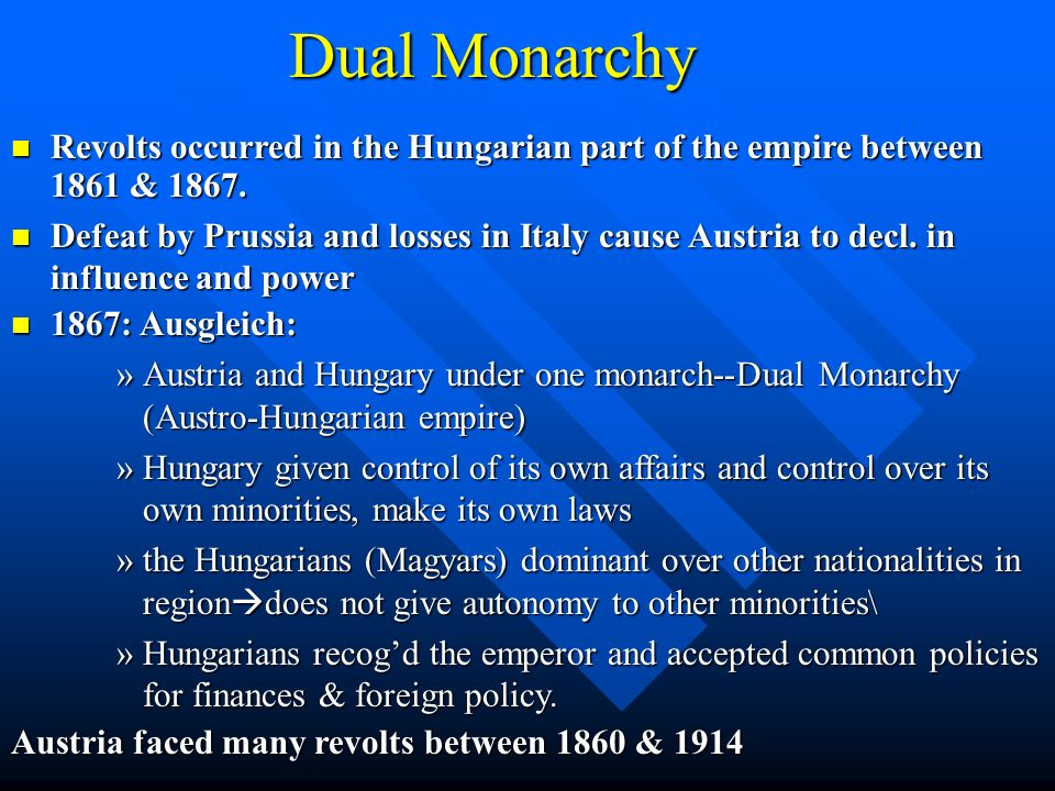 Dual Monarchy Revolts occurred in the Hungarian part of the empire between 1861 & 1867. Revolts occurred in the Hungarian part of the empire between 1