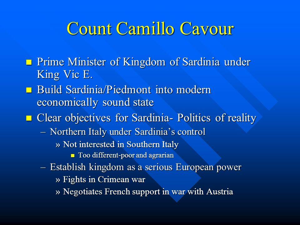 Count Camillo Cavour Prime Minister of Kingdom of Sardinia under King Vic E. Prime Minister of Kingdom of Sardinia under King Vic E. Build Sardinia/Pi