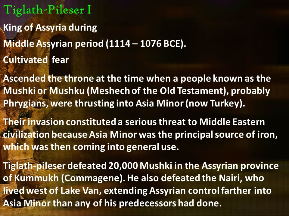 Tiglath-Pileser I First campaign: occupied Assyrian districts-Upper Euphrates 2 nd campaign: Assyrian forces penetrated into the mountains south of Lake Van and then turned westward to receive the submission of Malatia.