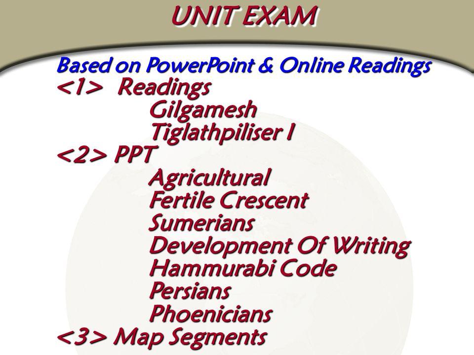 Based on PowerPoint & Online Readings Readings Gilgamesh Readings Gilgamesh Tiglathpiliser I PPT PPT Agricultural Fertile Crescent Sumerians Developme