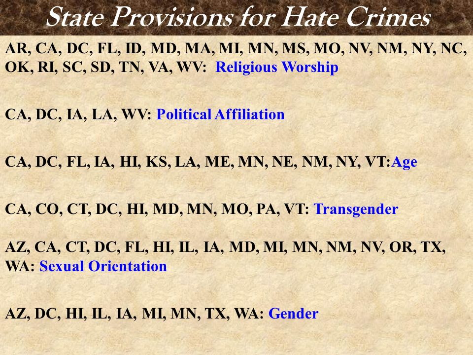 State Provisions for Hate Crimes AR, CA, DC, FL, ID, MD, MA, MI, MN, MS, MO, NV, NM, NY, NC, OK, RI, SC, SD, TN, VA, WV: Religious Worship CA, DC, IA,