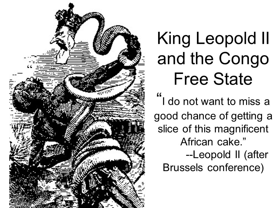 King Leopold II and the Congo Free State I do not want to miss a good chance of getting a slice of this magnificent African cake. --Leopold II (after