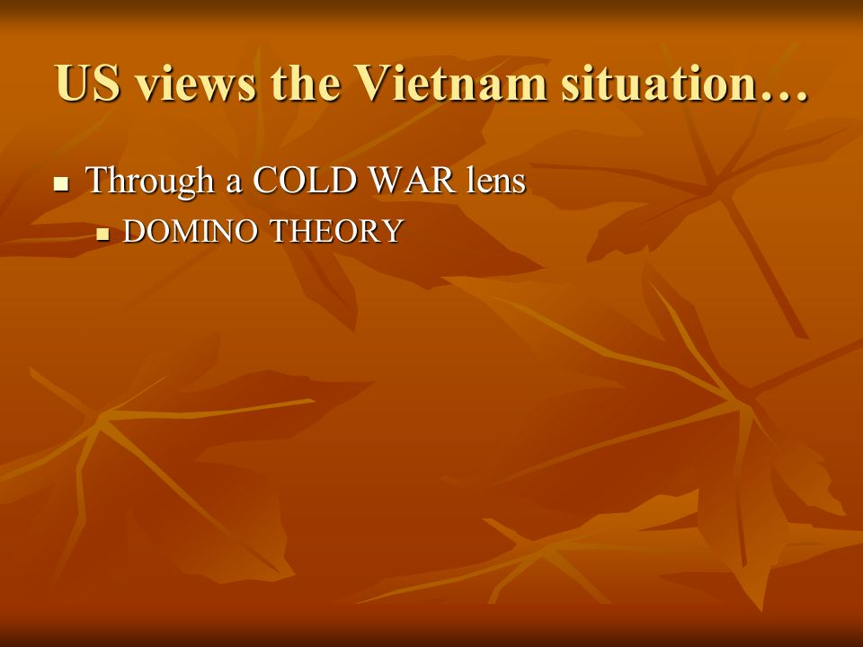 US views the Vietnam situation… Through a COLD WAR lens Through a COLD WAR lens DOMINO THEORY DOMINO THEORY