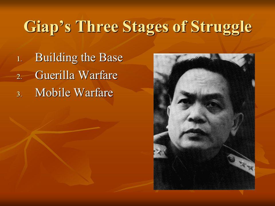 Giaps Three Stages of Struggle 1. Building the Base 2. Guerilla Warfare 3. Mobile Warfare
