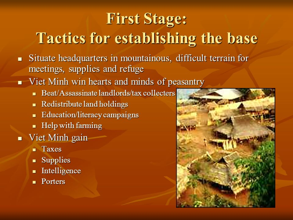 First Stage: Tactics for establishing the base Situate headquarters in mountainous, difficult terrain for meetings, supplies and refuge Situate headquarters in mountainous, difficult terrain for meetings, supplies and refuge Viet Minh win hearts and minds of peasantry Viet Minh win hearts and minds of peasantry Beat/Assassinate landlords/tax collecters Beat/Assassinate landlords/tax collecters Redistribute land holdings Redistribute land holdings Education/literacy campaigns Education/literacy campaigns Help with farming Help with farming Viet Minh gain Viet Minh gain Taxes Taxes Supplies Supplies Intelligence Intelligence Porters Porters