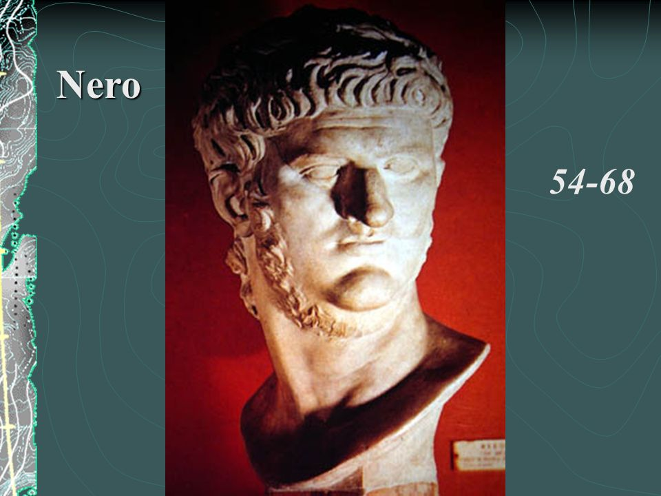 Opportunity Fire Persecution of Christians Kills mother: Agrippina Lavish State project: PalaceDomus Aurea Innovation vaulted ceiling Level of slavery enormous Overthrown Dramatic Suicide What an artist dies in me… Leaves a void of bloodline… Nero Claudius Caesar Augustus Germanicus
