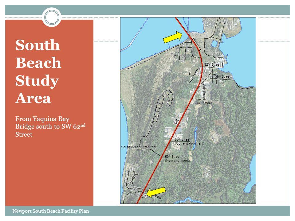 South Beach Study Area From Yaquina Bay Bridge south to SW 62 nd Street 35 th Street 40 th Street 50 th Street (Current alignment) 50 th Street (New alignment) South Beach State Park 32 nd Street Newport South Beach Facility Plan
