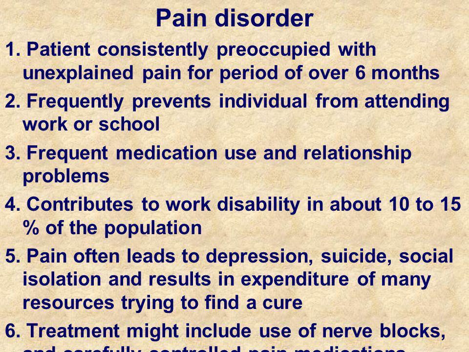 Pain disorder 1.