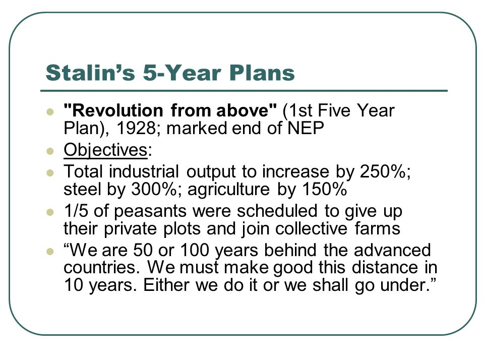 Stalins 5-Year Plans