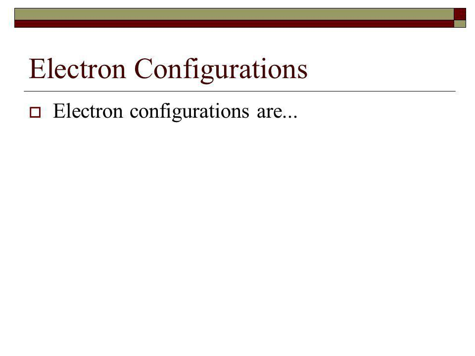 Electron Configurations Electron configurations are...