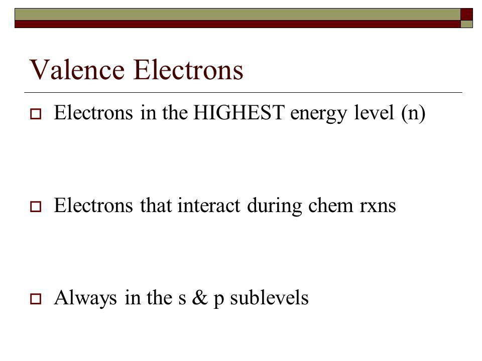 Valence Electrons Electrons in the HIGHEST energy level (n) Electrons that interact during chem rxns Always in the s & p sublevels