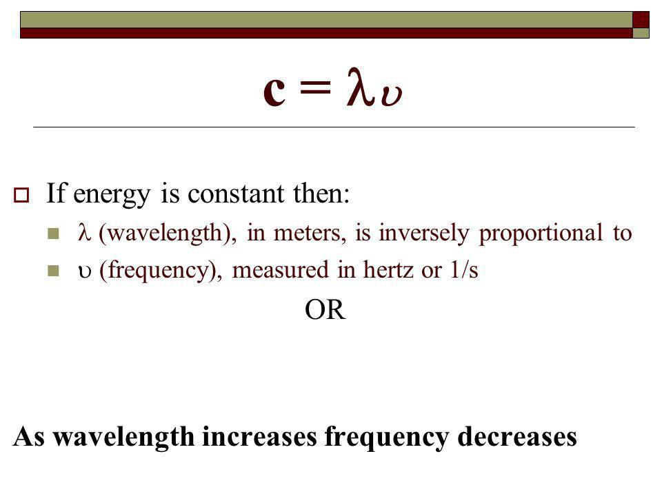 c = If energy is constant then: (wavelength), in meters, is inversely proportional to (frequency), measured in hertz or 1/s OR As wavelength increases