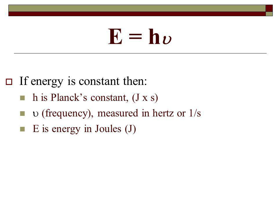 E = h If energy is constant then: h is Plancks constant, (J x s) (frequency), measured in hertz or 1/s E is energy in Joules (J)