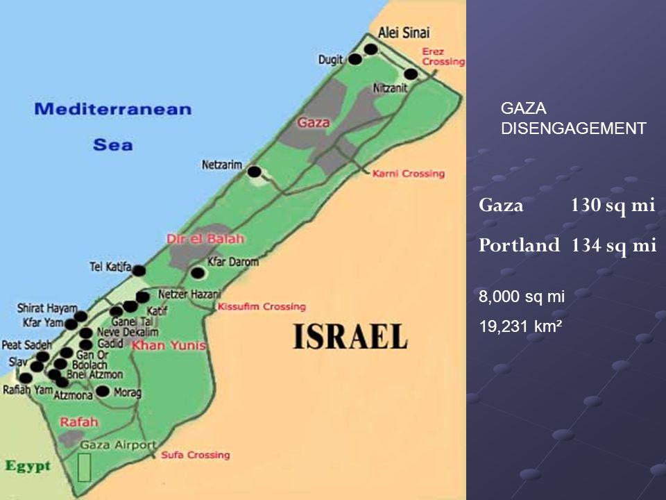 GAZA DISENGAGEMENT Gaza 130 sq mi Portland 134 sq mi 8,000 sq mi 19,231 km²