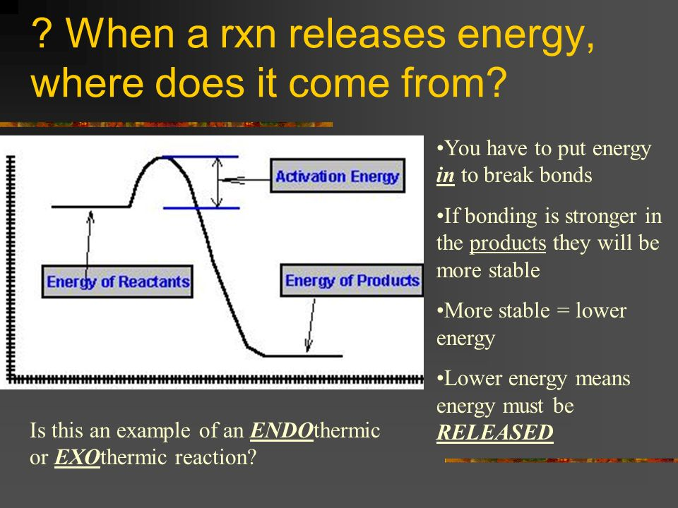 ? When a rxn releases energy, where does it come from? You have to put energy in to break bonds If bonding is stronger in the products they will be mo