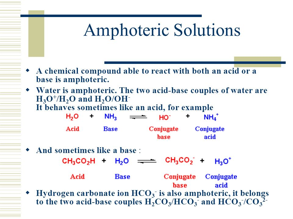 Amphoteric Solutions A chemical compound able to react with both an acid or a base is amphoteric. Water is amphoteric. The two acid-base couples of wa