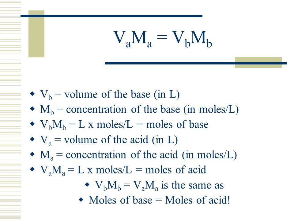 V a M a = V b M b V b = volume of the base (in L) M b = concentration of the base (in moles/L) V b M b = L x moles/L = moles of base V a = volume of t