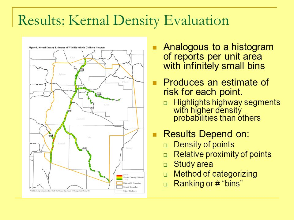 Results: Kernal Density Evaluation Analogous to a histogram of reports per unit area with infinitely small bins Produces an estimate of risk for each point.
