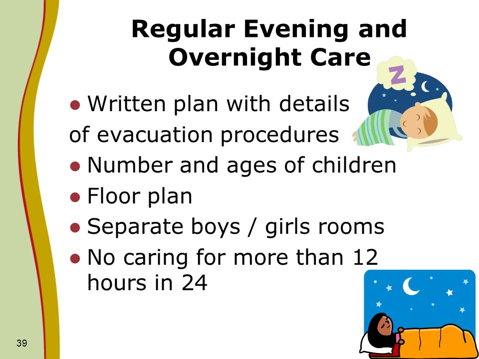Regular Evening and Overnight Care Written plan with details of evacuation procedures Number and ages of children Floor plan Separate boys / girls rooms No caring for more than 12 hours in 24 39