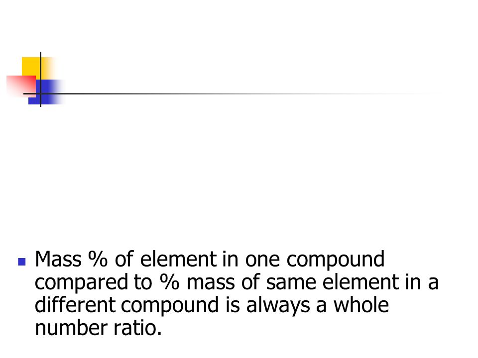 Law of Multiple Proportions When different compounds are formed by the combination of the same elements the mass ratio of the two elements of the diff