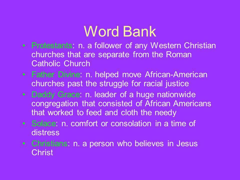 Word Bank Protestants: n.