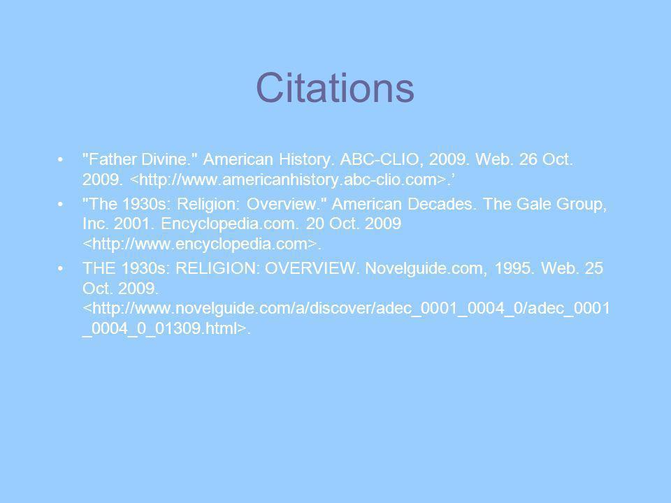 Citations Father Divine. American History. ABC-CLIO, 2009.