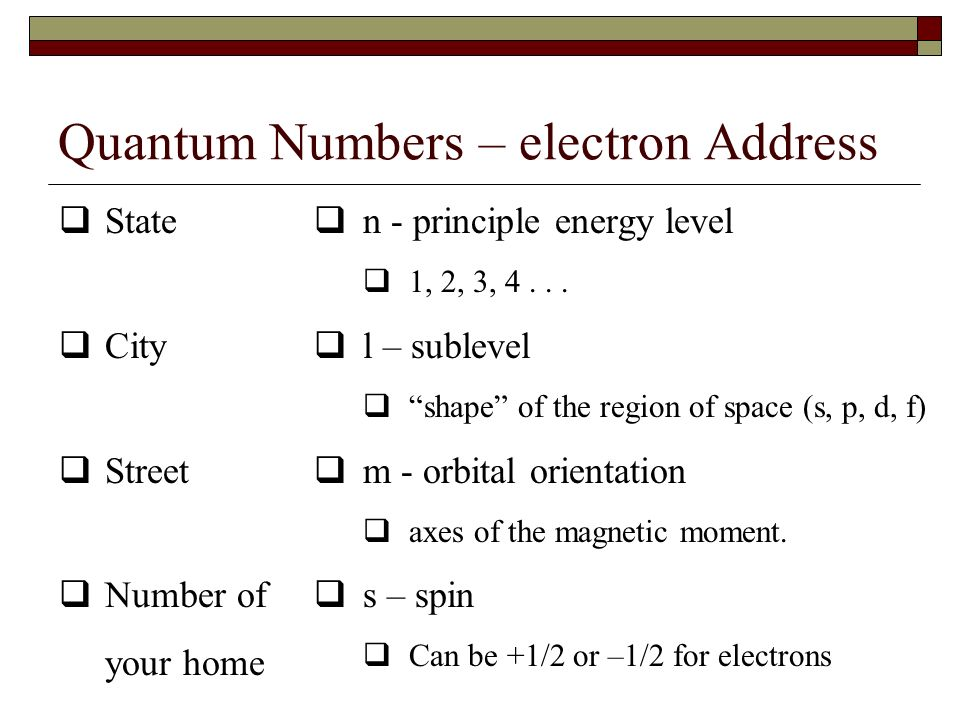 Principle Quantum Numbers Quantum numbers define the characteristics of a particular electron. Work as an address for the electron electrons repel eac