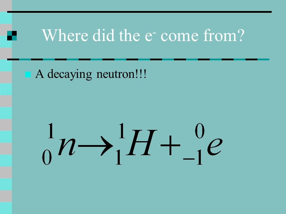 Where did the e - come from? A decaying neutron!!!