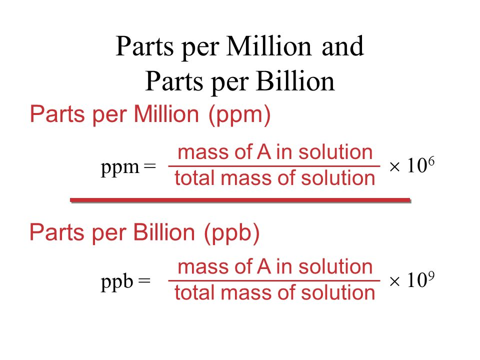 Parts per Million and Parts per Billion ppm = mass of A in solution total mass of solution 10 6 Parts per Million (ppm) Parts per Billion (ppb) ppb = mass of A in solution total mass of solution 10 9