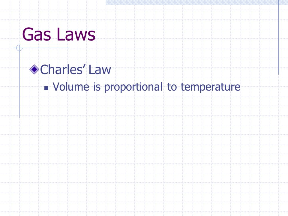 Gas Laws Charles Law Volume is proportional to temperature