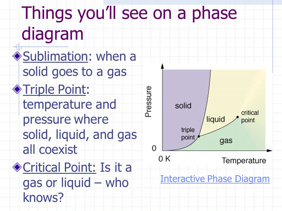 Things youll see on a phase diagram Sublimation: when a solid goes to a gas Triple Point: temperature and pressure where solid, liquid, and gas all co