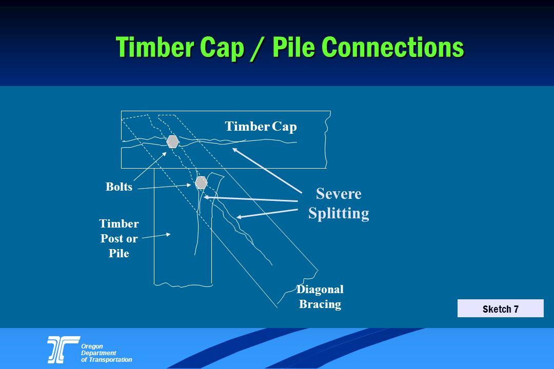 Oregon Department of Transportation Timber Cap / Pile Connections Timber Post or Pile Timber Cap Bolts Severe Splitting Diagonal Bracing Sketch 7