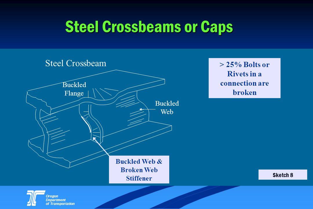 Oregon Department of Transportation Steel Crossbeams or Caps Buckled Flange Steel Crossbeam Buckled Web & Broken Web Stiffener Buckled Web > 25% Bolts