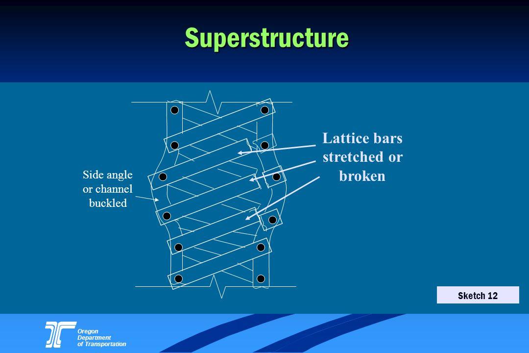 Oregon Department of Transportation Superstructure Side angle or channel buckled Lattice bars stretched or broken Sketch 12