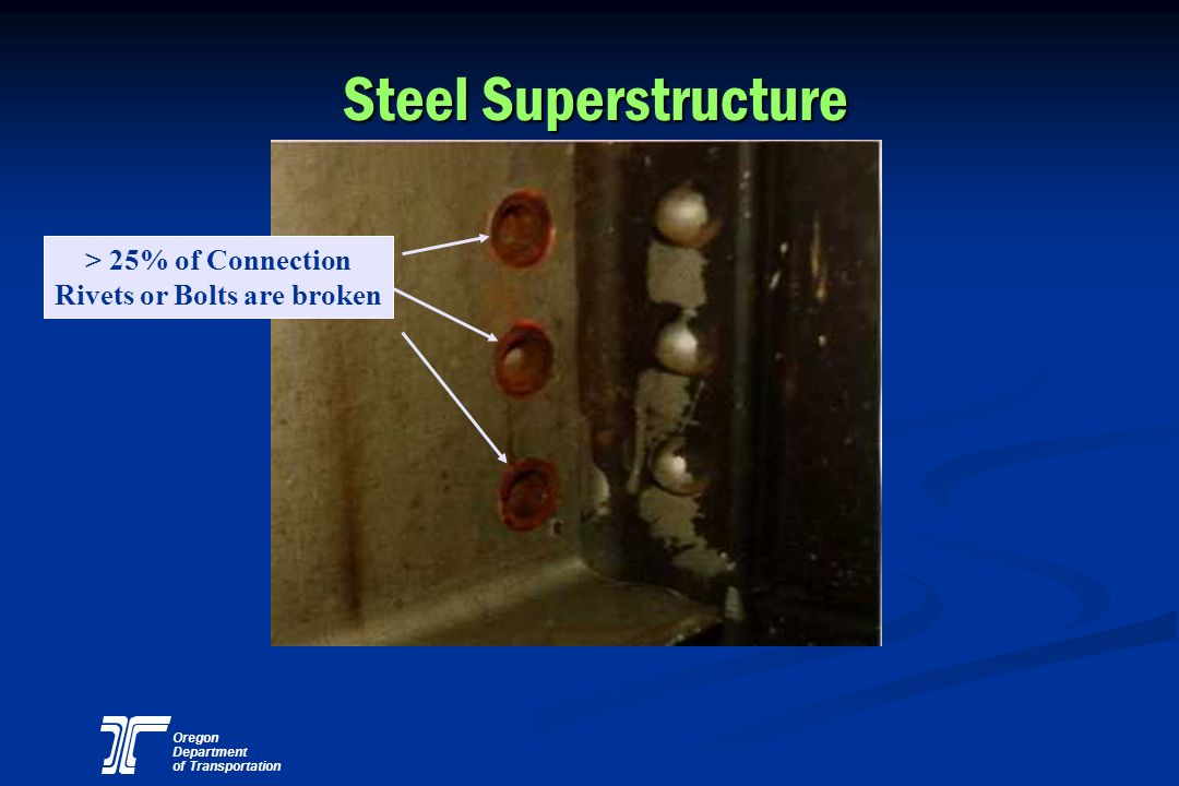 Oregon Department of Transportation Steel Superstructure > 25% of Connection Rivets or Bolts are broken