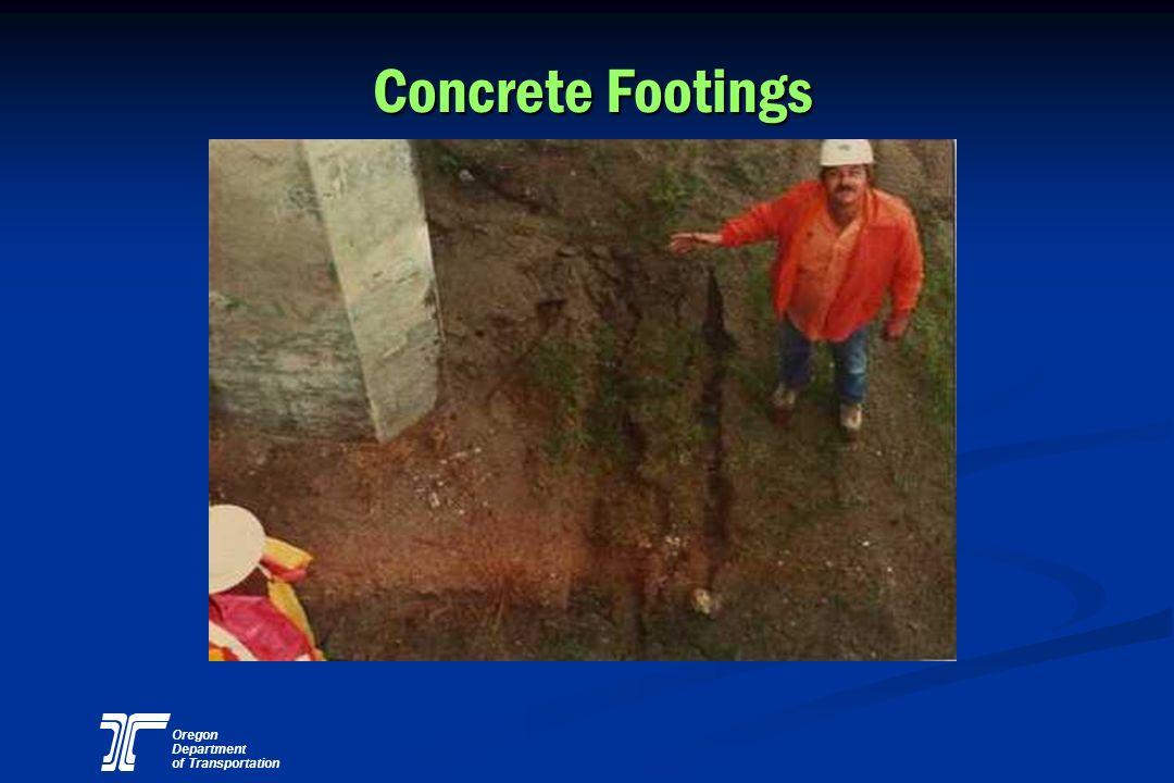 Oregon Department of Transportation Concrete Footings
