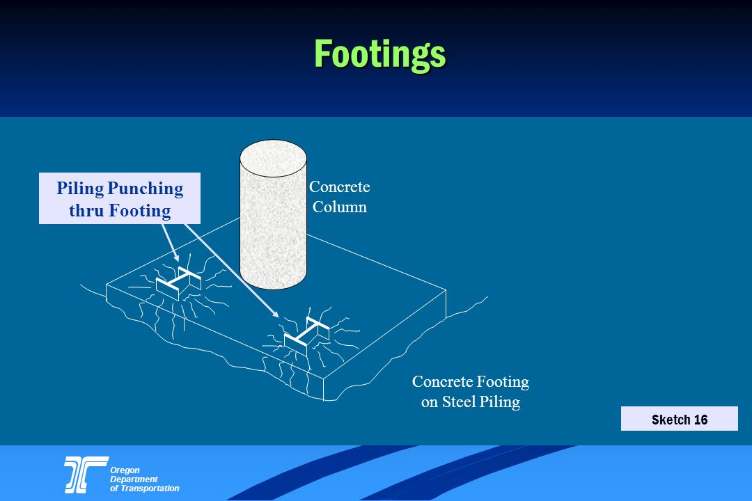 Oregon Department of Transportation Footings Piling Punching thru Footing Concrete Column Concrete Footing on Steel Piling Sketch 16